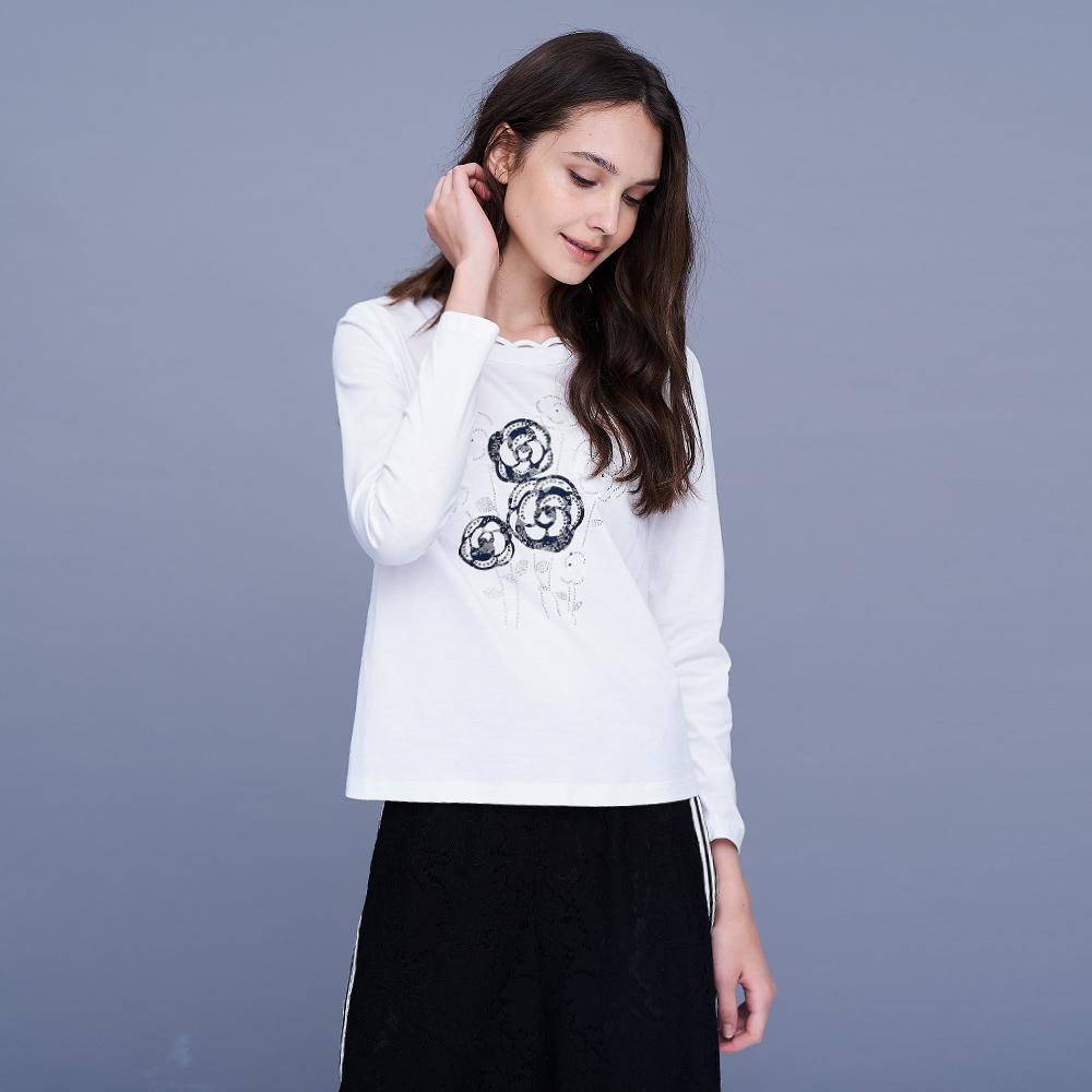 ILEY伊蕾 亮麗玫瑰蕾絲貼花上衣(白/紅)957150