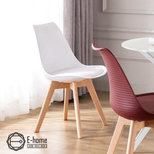E-home Epoch時代北歐橫紋軟墊餐椅-三色可選白色