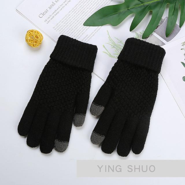 韓風螢幕觸控保暖禦寒針織素面純色棉手套 黑色款