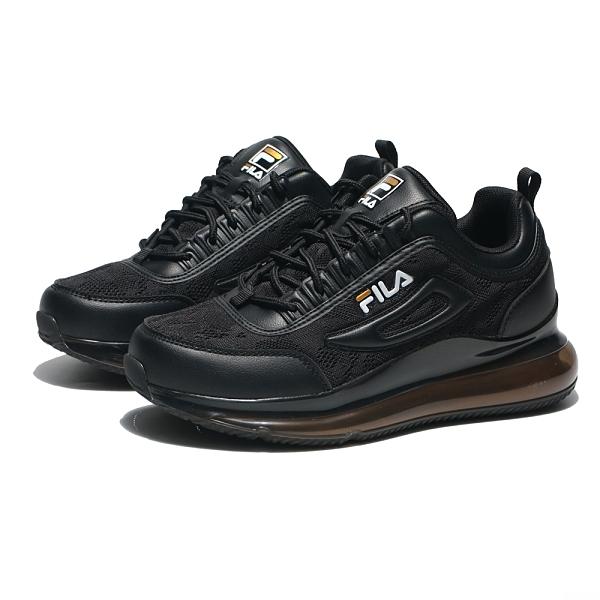 FILA 全黑 網布 全氣墊 白LOGO 情侶鞋 男女 (布魯克林) 1J327V081男 5J327V081女