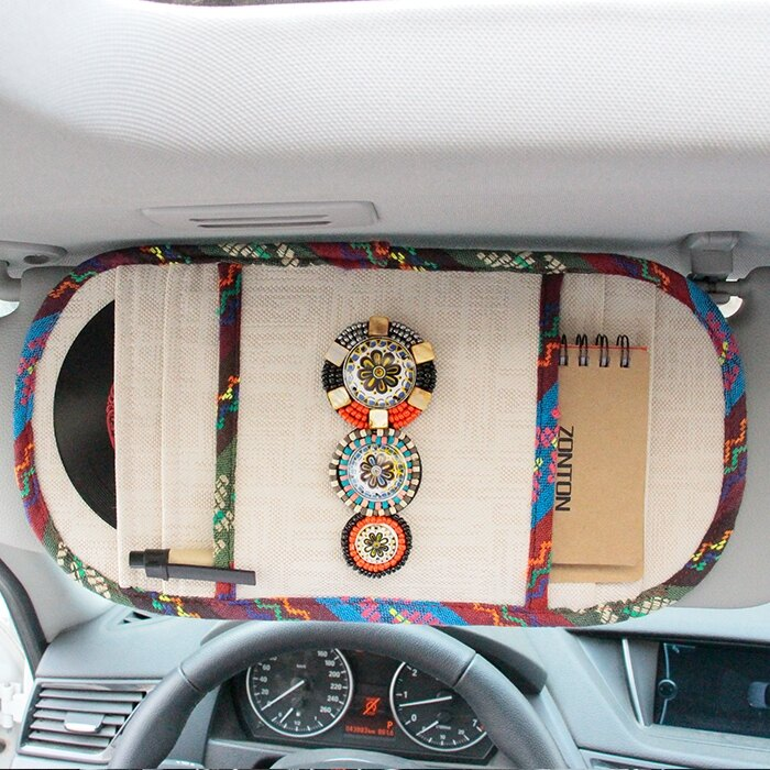 CD收納包 民族風 汽車cd夾車載cd包多功能遮陽板套車用CD光盤碟片夾收納袋