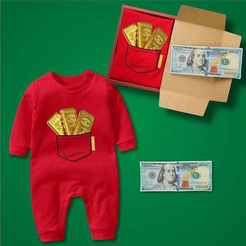 金條滿袋 大富翁鈔票禮盒2件組 長袖連身衣紅+鈔票方巾 嬰兒 寶寶