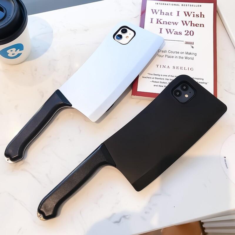 a-moreiphone11系列 仿真惡搞創意菜刀手機殼 送禮首選 銀色款