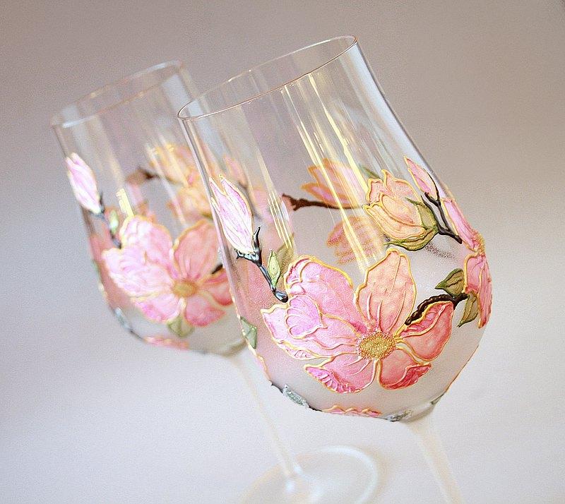 手繪粉色木蘭酒杯,一套2個