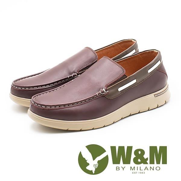 【南紡購物中心】W&M 真皮滾邊休閒懶人鞋 男鞋 - 紅棕(另有藍)