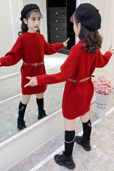 女童上衣 女童毛衣裙春裝2021新款兒童套頭中長款童裝打底針織衫冬季【快速出貨八折搶購】