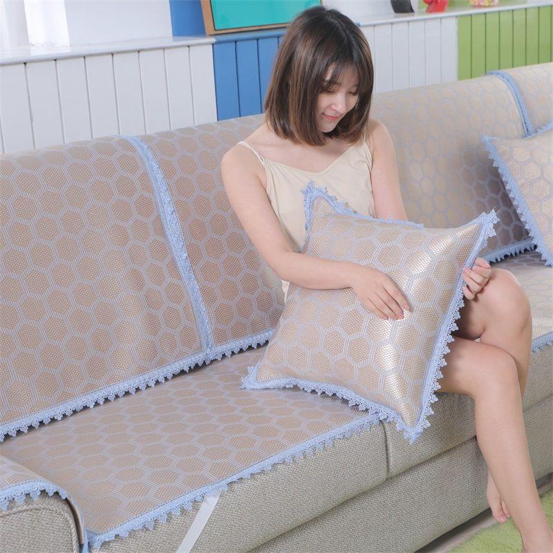 沙發墊夏季涼席涼墊歐式冰絲藤席子夏天客廳冰絲涼感沙發墊 冰絲涼蓆 沙發套 坐墊 冰涼墊 蓆類 防滑沙發墊 通用布藝透氣