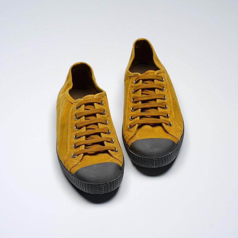 西班牙國民帆布鞋 CIENTA U74777 85 芥末黃 黑底 洗舊布料 大人 係帶款