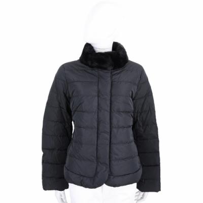 Max Mara-WEEKEND ELFO 毛領拼接車縫羽絨外套(黑色)