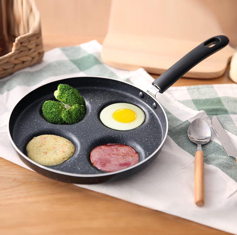 3c精品閣不粘四孔平底鍋煎蛋神器蛋餃鍋家用迷你煎蛋鍋不黏的平底鍋