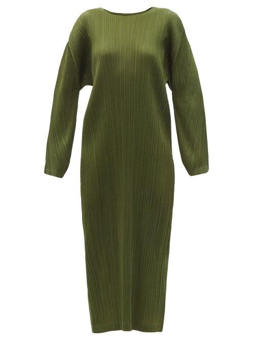 Pleats Please Issey Miyake - Technical-pleated Longline Dress - Womens - Khaki