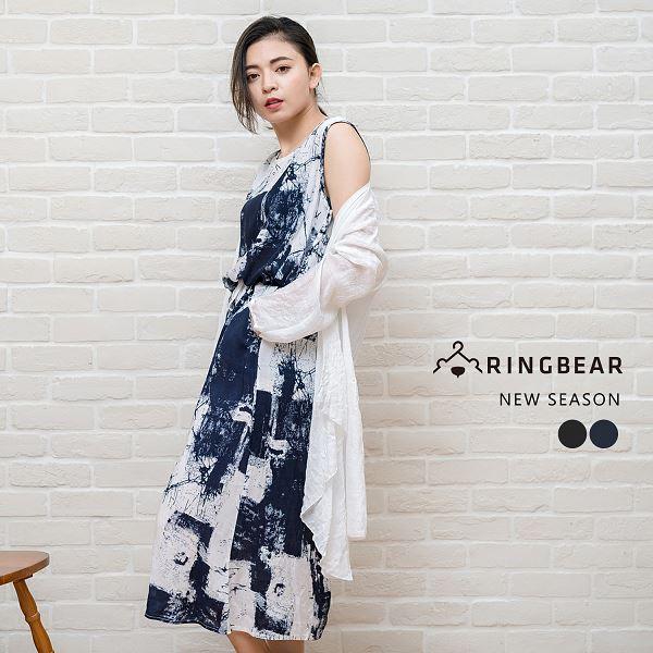 長版洋裝--氣質優雅浪漫氣息水墨畫印圖長版無袖洋裝(黑.藍L-3L)-D419眼圈熊中大尺碼