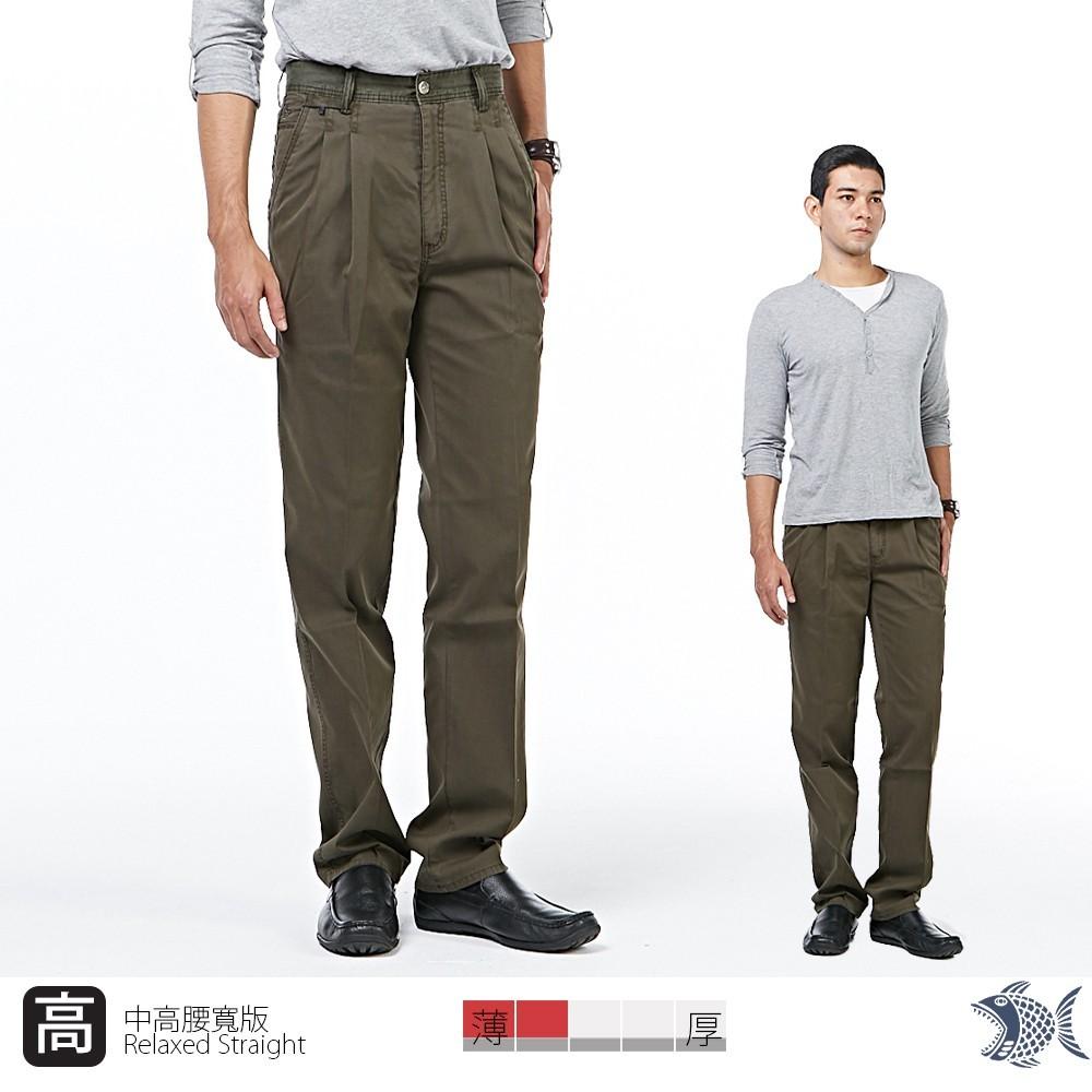 nst jeans男中高腰打摺褲 夏季薄款寬版 迷霧森林 墨綠細直紋  002(8720)