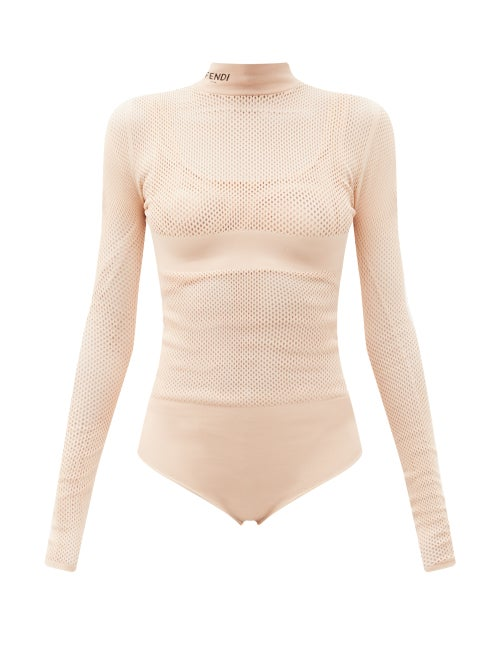 Fendi - Long-sleeve Jersey-mesh Bodysuit And Bra Set - Womens - Light Pink