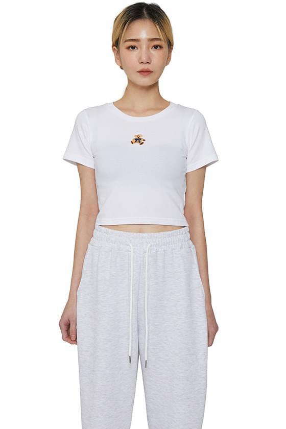 韓國空運 - Teddy bear cropped short sleeve T-shirt 短袖上衣
