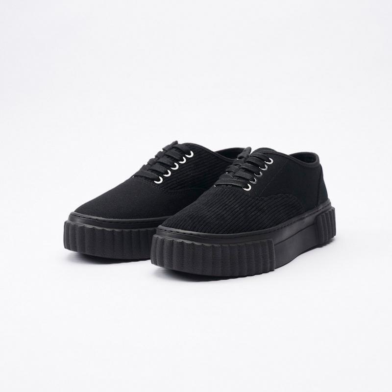 THE I Corduroy Black 可麗露鞋 帆布鞋 全黑 男女尺寸 厚底增高 燈芯絨 43