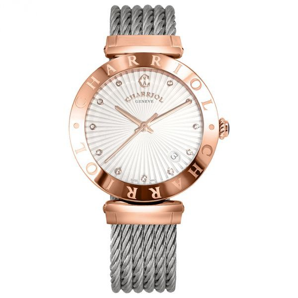 CHARRIOL夏利豪 AMP51A016 玫瑰金真鑽經典鋼索腕錶/放射面34mm