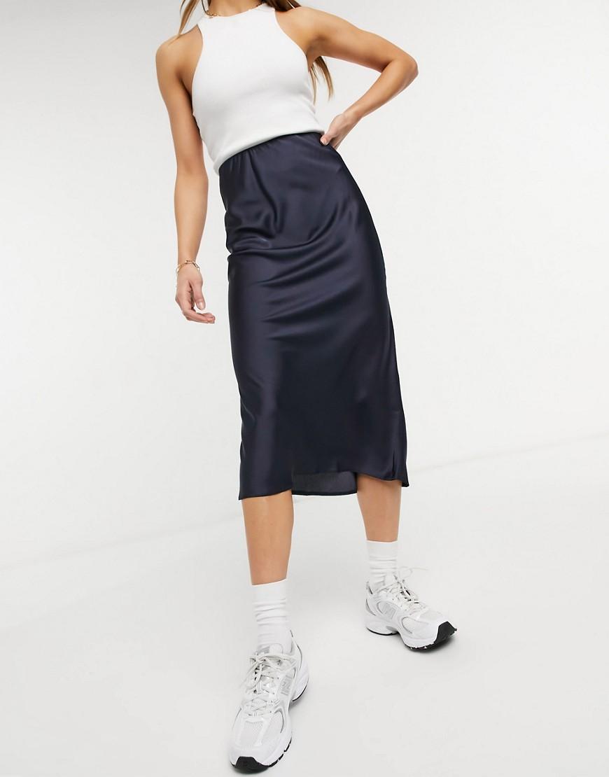 ASOS DESIGN satin bias slip midi skirt in navy-Blue