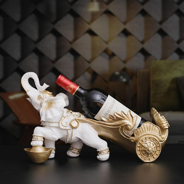 歐式創意大象紅酒架工藝品喬遷開業禮品辦公室客廳酒柜家居裝飾品