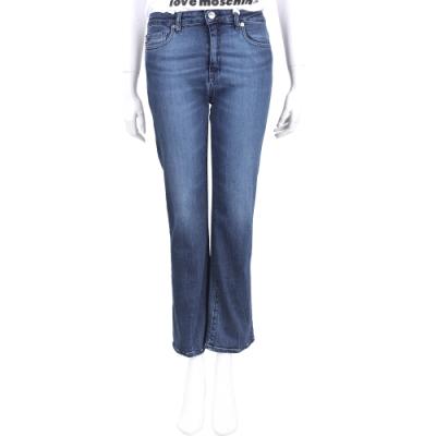LOVE MOSCHINO 愛心標誌口袋深藍刷色微喇叭牛仔長褲