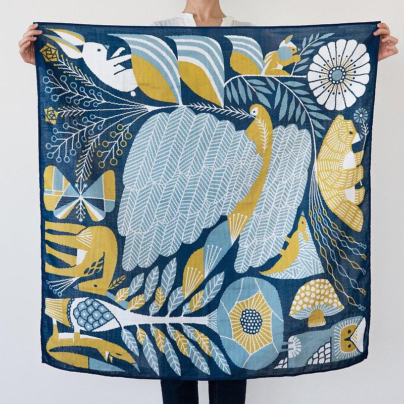 印花絲巾 桌巾 二重紗 L size-大羽毛