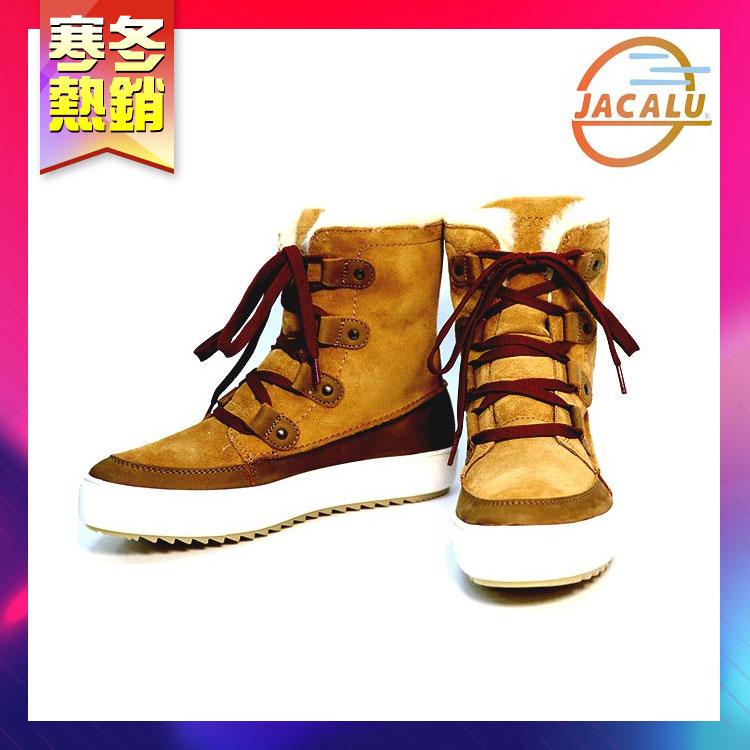 【寒冬熱銷】Jacalu 中筒麂皮雪靴 2761.3 卡其 / 城市綠洲 (雪靴、防潑水、防雪、刷毛、布面)