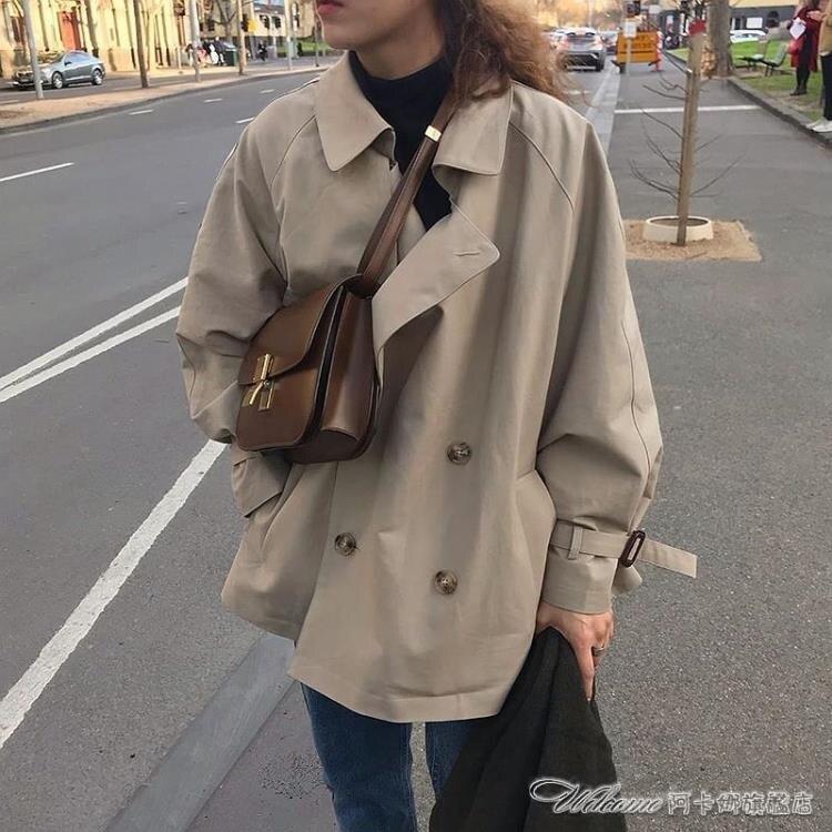 (熱賣)風衣春秋新款韓版寬鬆英倫風雙排扣短款大衣外套氣質工裝風衣潮 [新年免運]