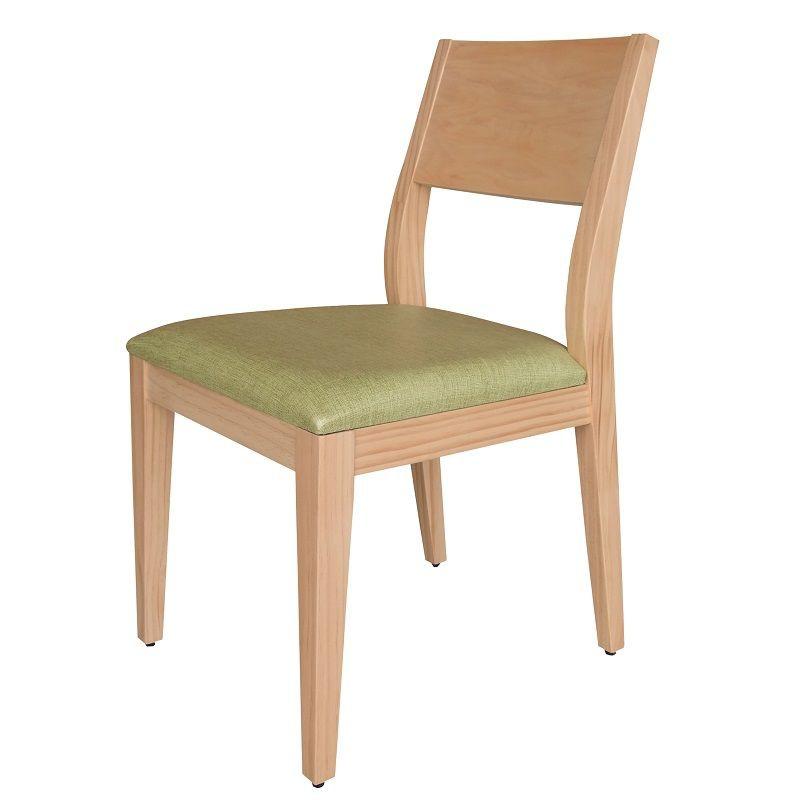 【HB440-05】喬伊原木餐椅(緑亞麻紋皮)(原木)