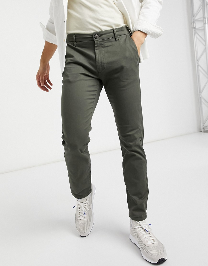 Burton Menswear slim chinos in khaki-Green