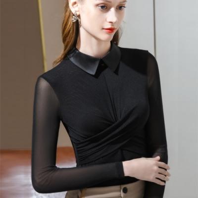 專注內搭-黑色網紗內搭長袖T恤交叉褶皺設計感翻領上衣(S-2XL可選)