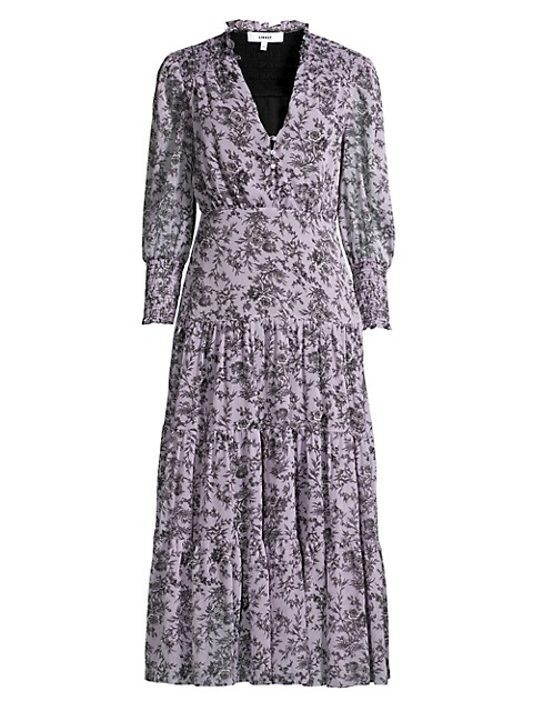 Hurley Smocked Floral Midi Dress