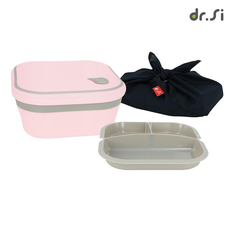 dr.Si 矽寶巧 飽飽盒 (含日式便當包巾) - 櫻花粉