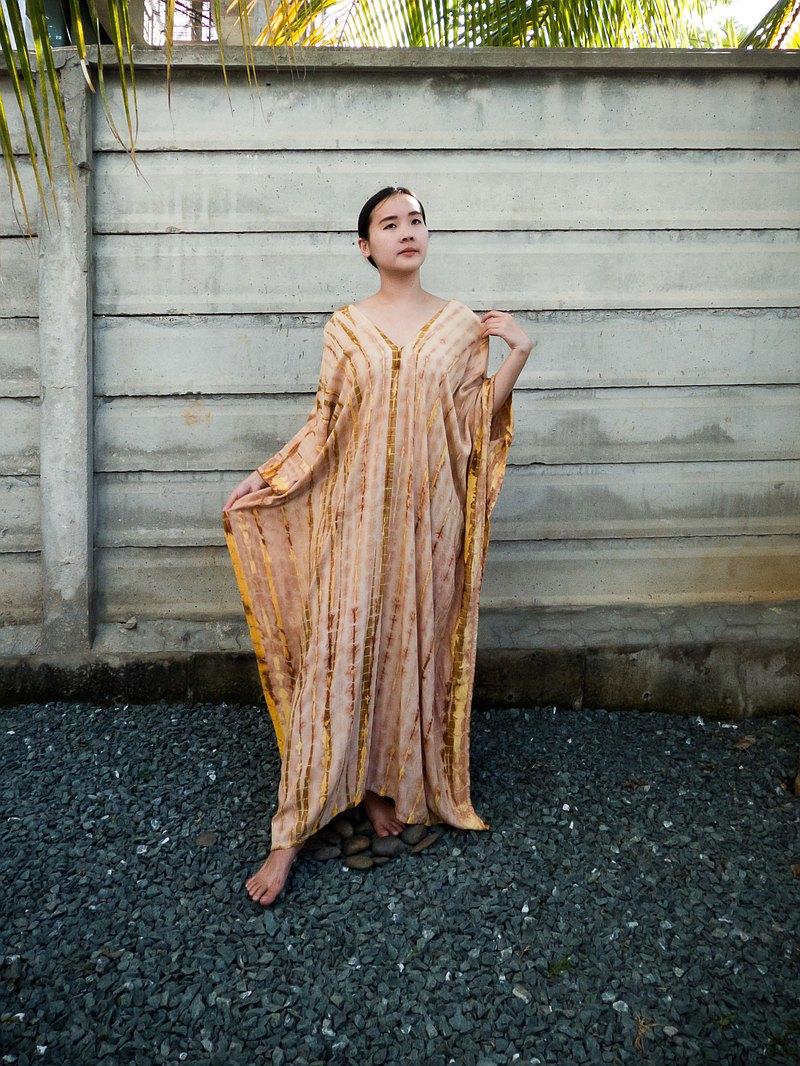 寬鬆連衣裙 沙灘裙 女士睡衣 時尚V領連衣裙 復古連衣裙