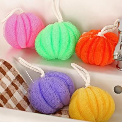 荷生活 南瓜造型沐浴球去角質球-2入 顏色隨機