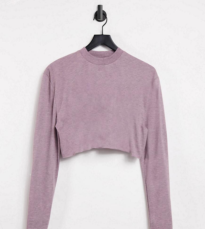 COLLUSION overdye marl crop long sleeve t shirt co-ord-Purple