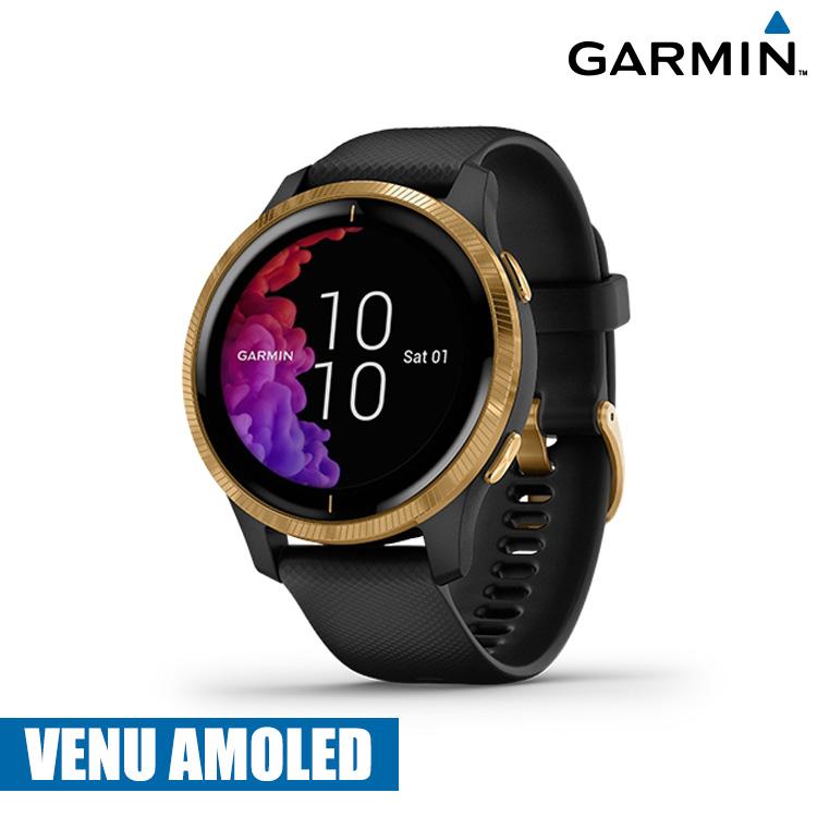 【門市自取限定】GARMIN VENU AMOLED GPS 智慧腕錶-黑色錶帶/金色錶扣