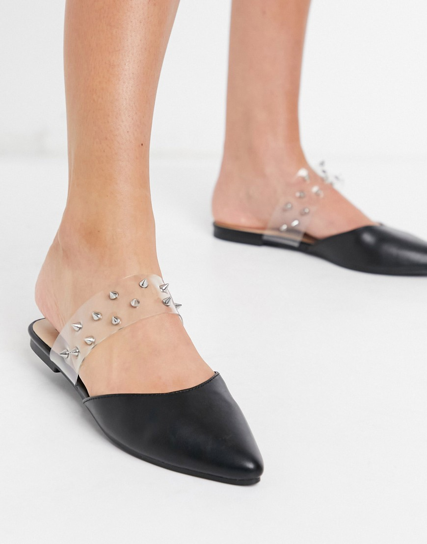 London Rebel pointed flat mule with studs in black