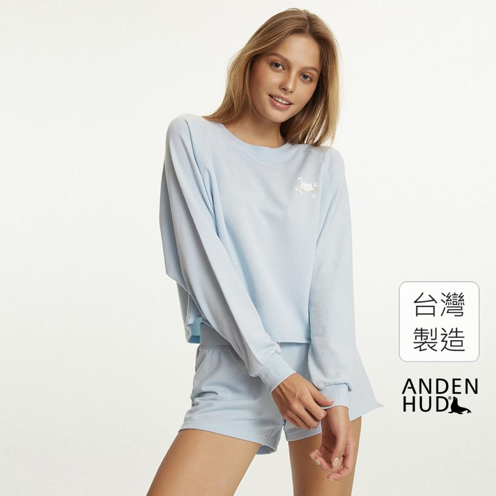 【Anden Hud】床邊故事.拉格蘭袖短版長袖睡衣(晴空藍-賴床貓) 台灣製