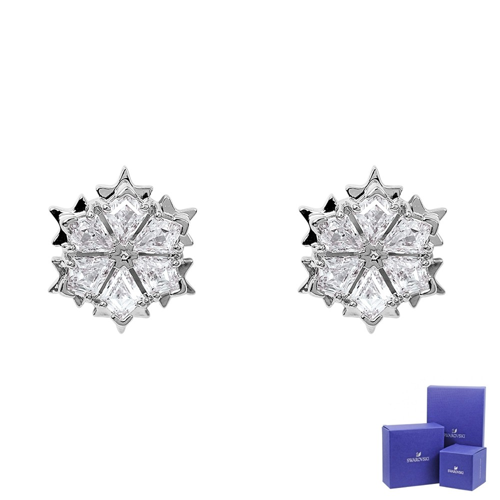 SWAROVSKI 施華洛世奇 Magic璀燦水晶雪花造型銀色耳環 5428430