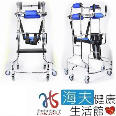 恆伸機械式輪椅 未滅菌 海夫健康生活館 鐵製電鍍帶輪 復健助步器 助行椅 螃蟹車_ER-3106