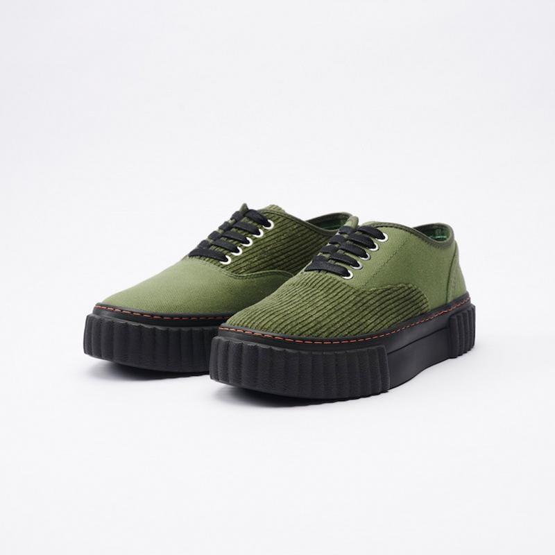THE I Corduroy Army 可麗露鞋 帆布鞋 軍綠 男女尺寸 厚底增高 燈芯絨 38