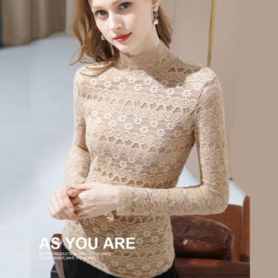 專注內搭-半高領蕾絲內搭長袖T恤性感鏤空上衣(三色S-3XL可選)