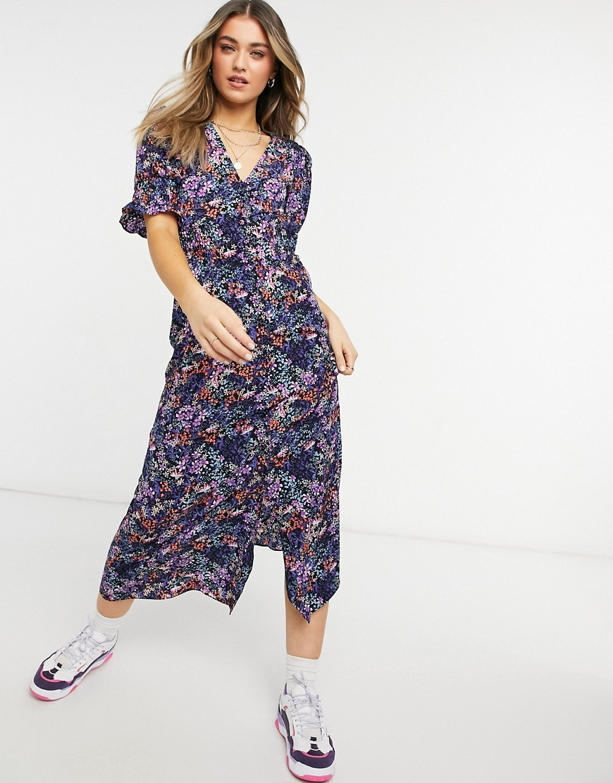 ASOS DESIGN Button through maxi tea dress with shirred waist in purple floral-Multi