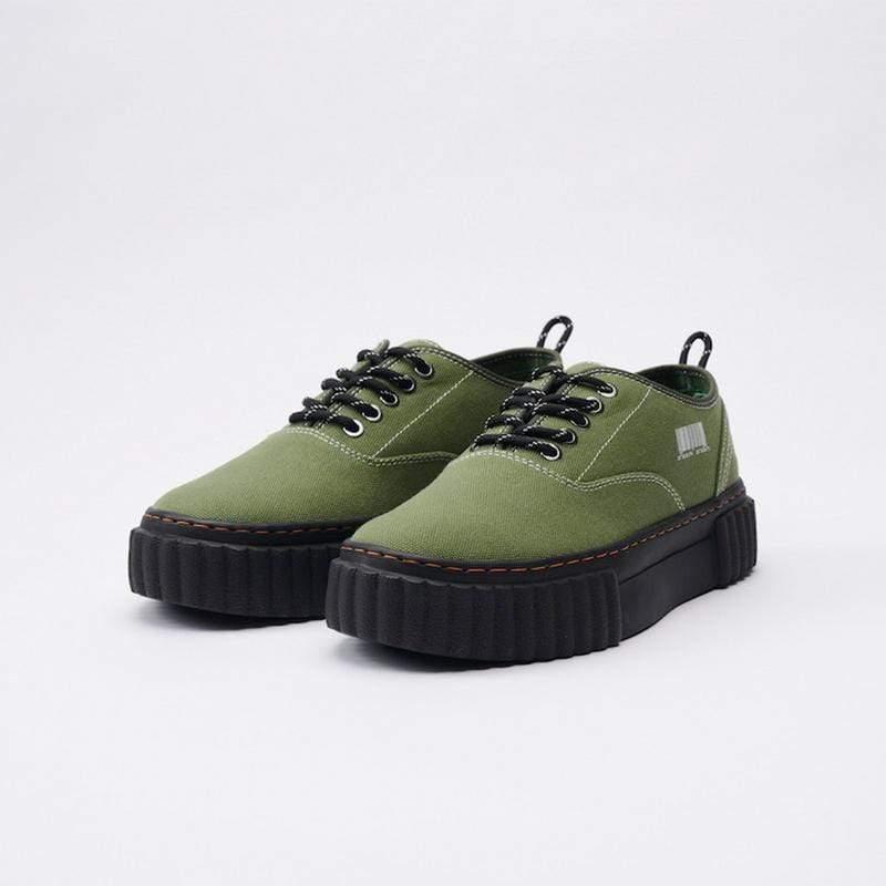 THE I Army / Black Sole 可麗露鞋 帆布鞋 軍綠色/黑底 男女尺寸 厚底增高 36