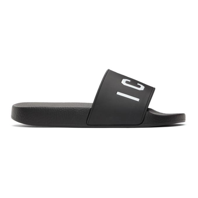 "Dsquared2 黑色""Icon""拖鞋"