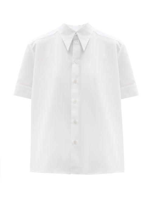 Zanini - Point-collar Cotton-poplin Shirt - Womens - White