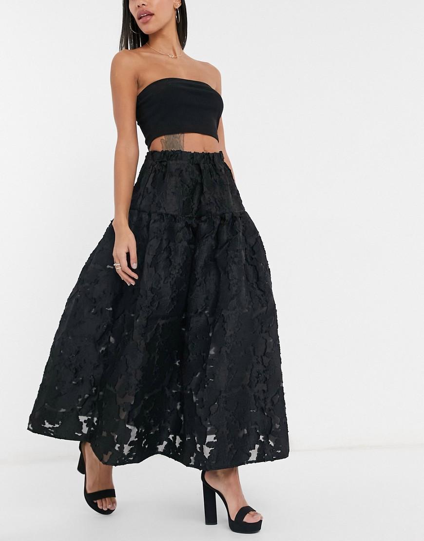 Dream Sister Jane organza smock maxi skirt in black coord