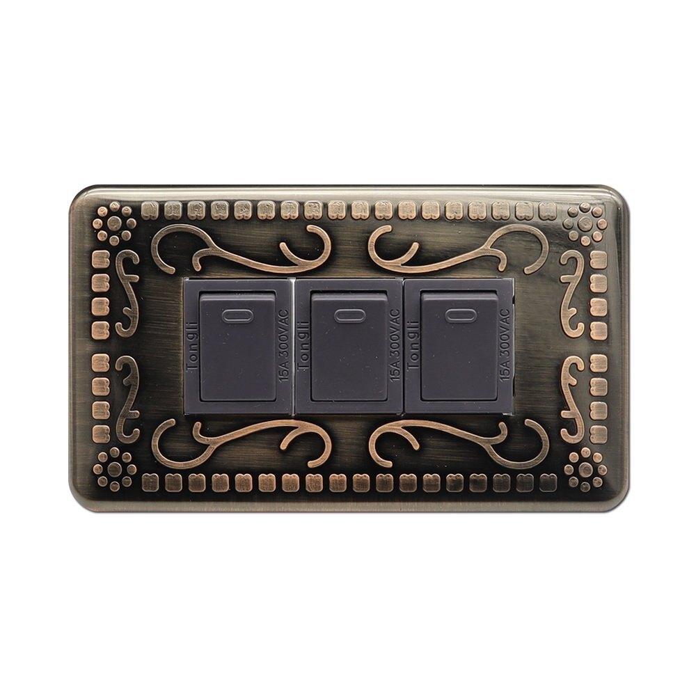 【朝日電工】 B-760 復古風古銅色藝術開關蓋板(無孔) 2入