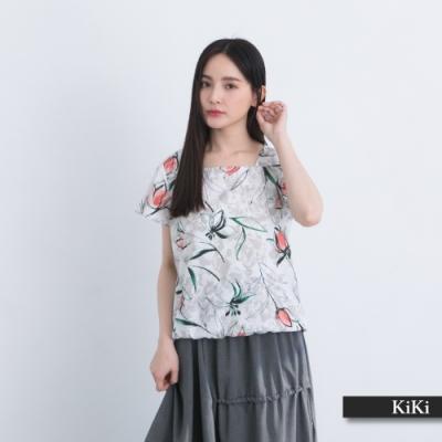 【KiKi】水墨質感印花-襯衫(二色/版型顯瘦)