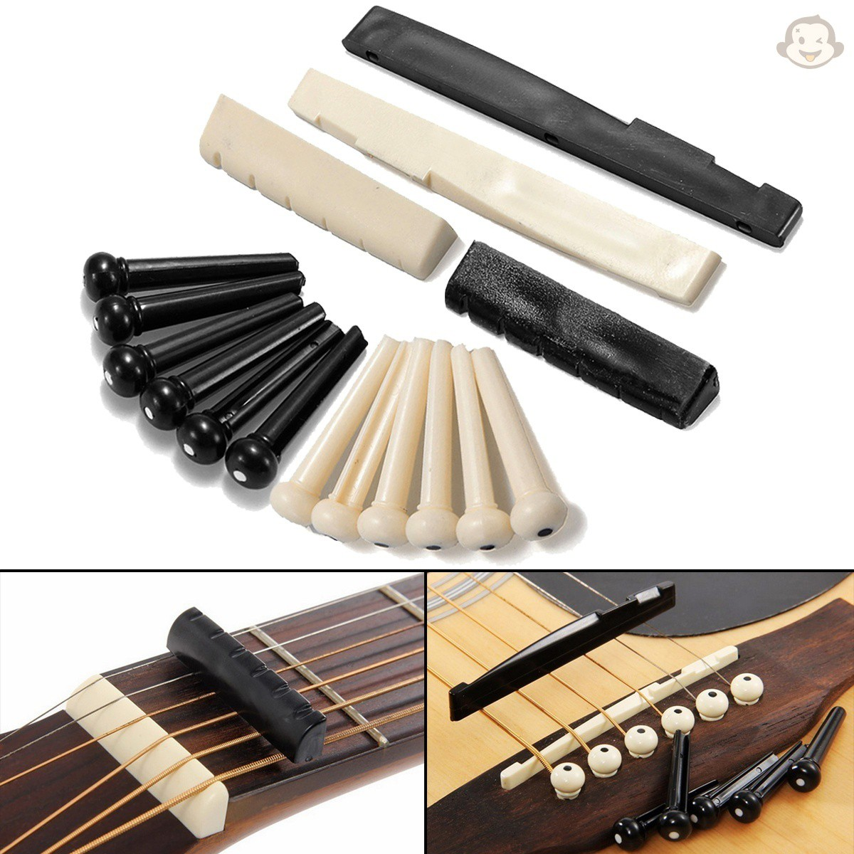 吉他配件 1 套 -6 個吉他骨橋銷 + 1 個用於民謠吉他的鞍形螺母